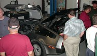 DeLorean outfitted with charging device.